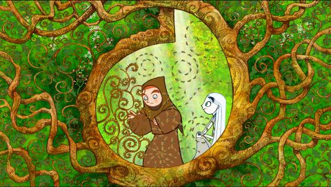 Brendan e Aisling na floresta de iluminuras de The Secret of Kells
